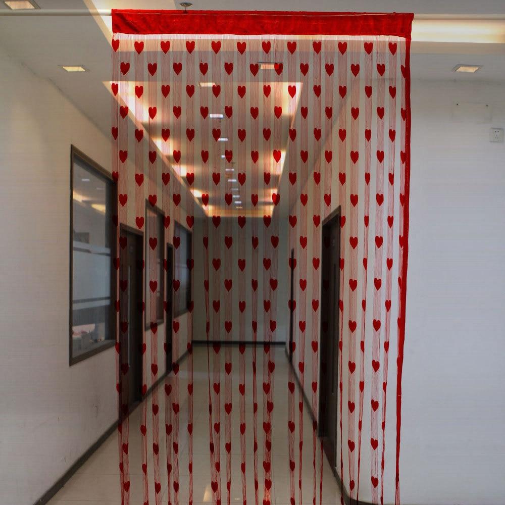 Fashion Heart Panel Line String Modern Curtain Tassel Drape Window  ~ Painel De Fotos Para Quarto Coração