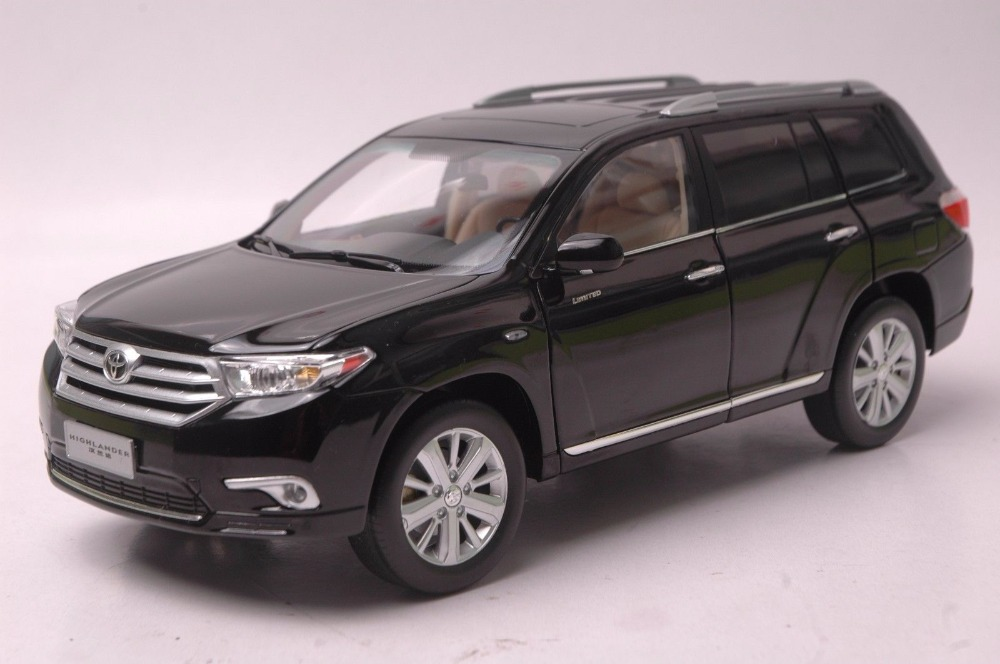 1:18 Diecast Model for Toyota Highlander 2012 Black SUV Alloy Toy Car Miniature Collection Gift 1 18 vw volkswagen teramont suv diecast metal suv car model toy gift hobby collection silver