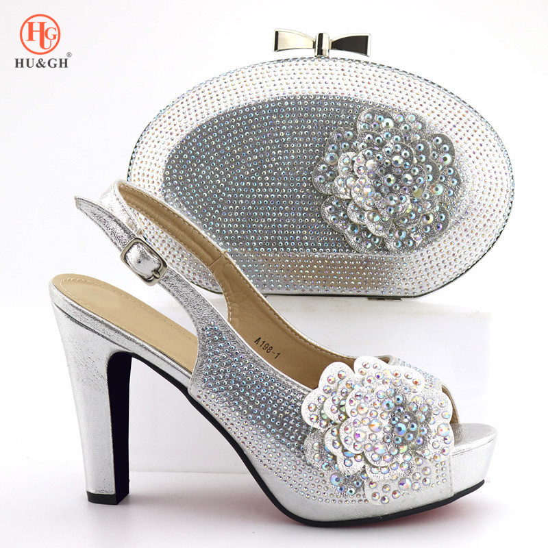 2019 New Italian Shoes With Matching Bag Set Italy African Women Party Shoes and Bag Set