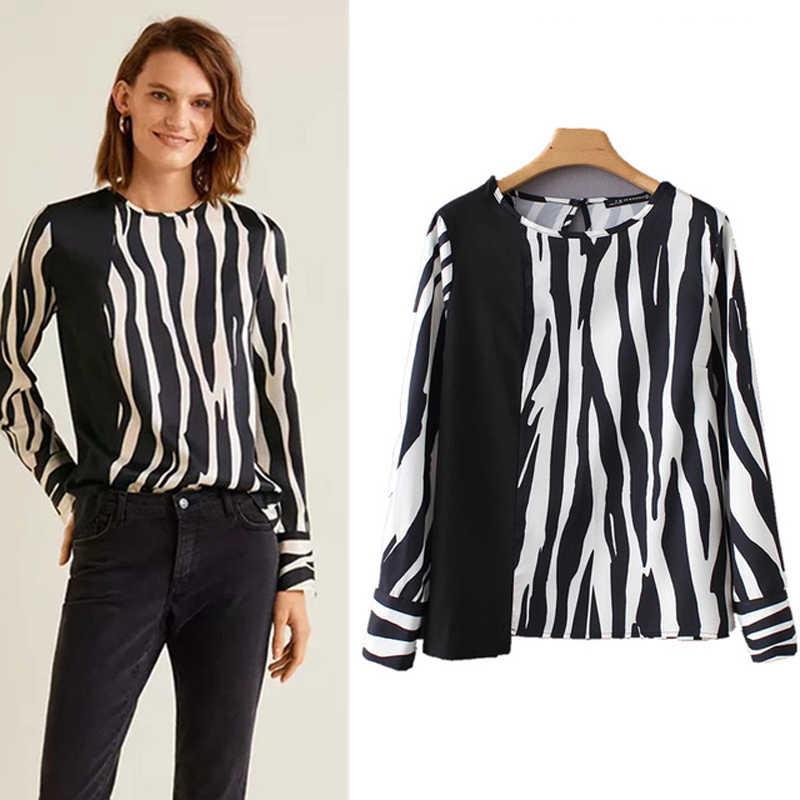 COZARII 2018 blusa feminina kimono blouse blusas mujer de mod zebra striped none shirt womens tops and blouses plus size