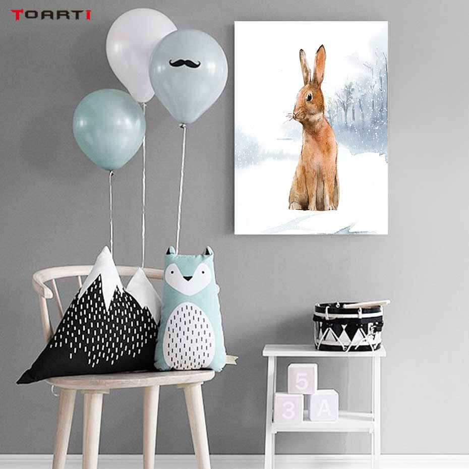 Image 4 - Modern Snowfield Cartoon Animals Prints Posters Wall Art Rabbits Polar Bears Canvas Painting For Kids Nursery Bedroom Home Decor-in Painting & Calligraphy from Home & Garden
