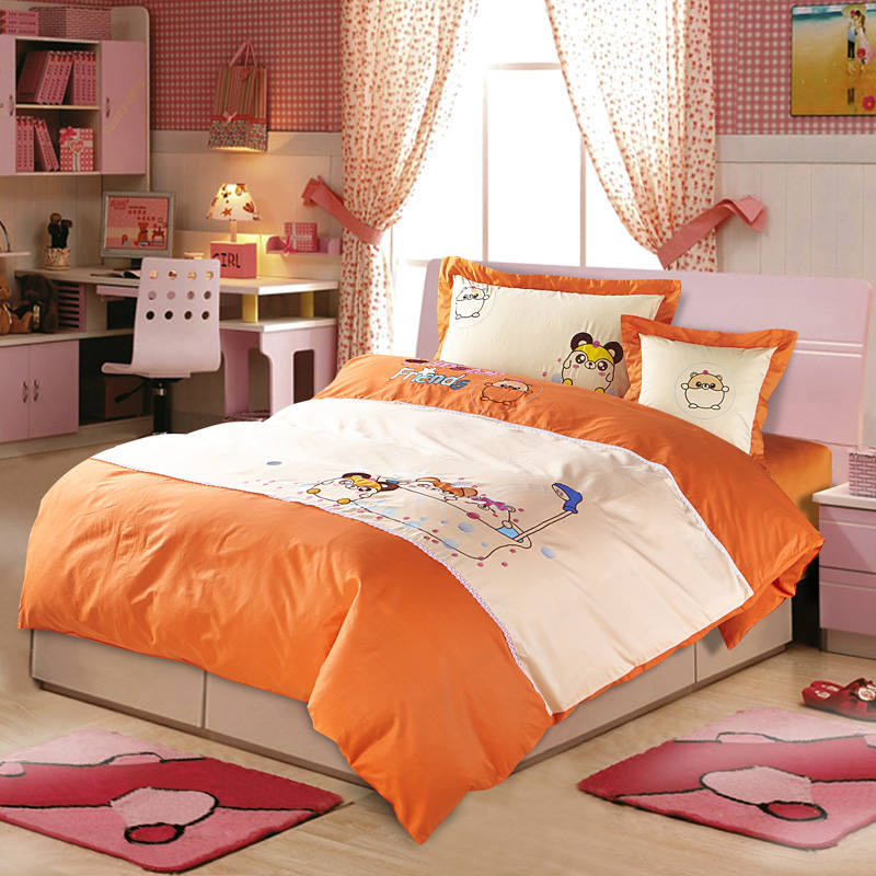 cartoon character applique embroidered bedding sets twin full queen size duvet covers bedspreads. Black Bedroom Furniture Sets. Home Design Ideas