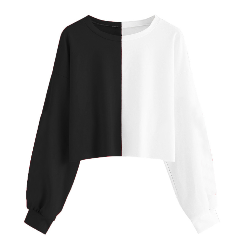 Fall Women Cropped Hoodie Sweatshirt Tops O Neck Black White Splice Oversized Hoodies Harajuku Women Clothes Sudadera Mujer