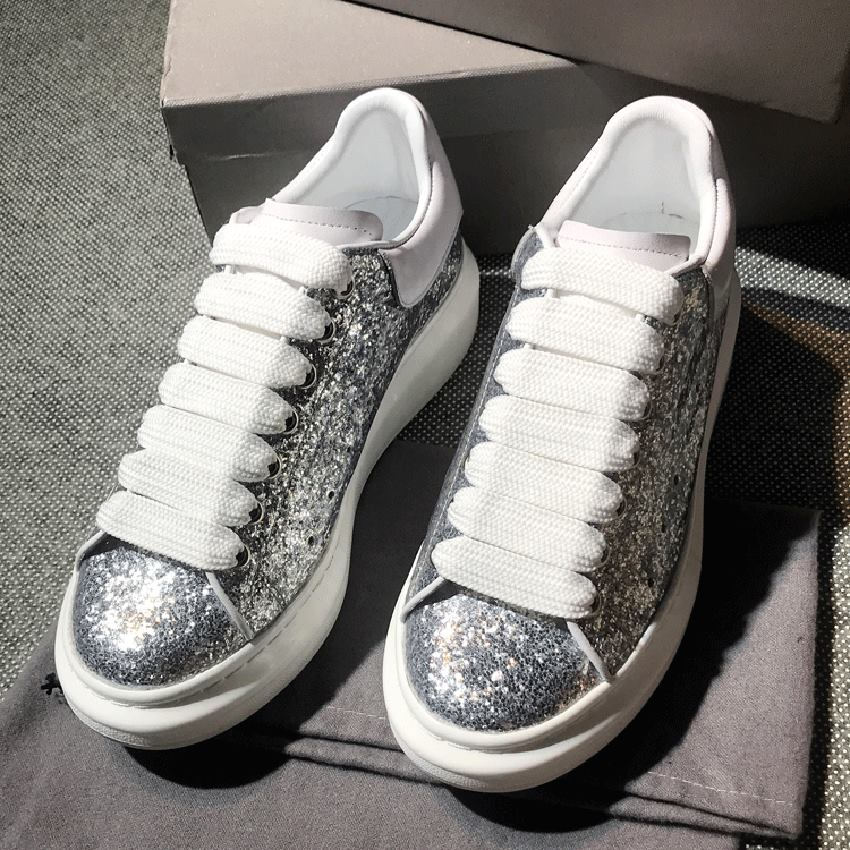 Leather Single Shoes Female Sequined Muffin Thick Bottom Women Casual Shoes Spring autumn Bling Lace up