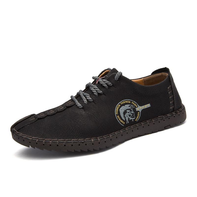 GRAM EPOS Comfortable super Big size 38-48 Casual Shoes Loafers Men Shoes Quality Split Leather Shoes Men Flats Moccasins Shoes