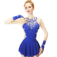 Sapphire Blue Crystal Drill Wide Collar And Long Sleeve Figure Skating Dress Performance Skirt