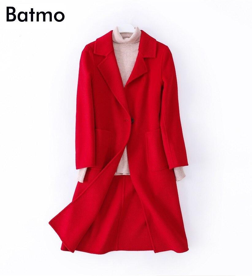 Laine 100 Tranchée 8603 Parka Automne Hiver De Femmes khaki Femmes 1 Long Nouvelle red Batmo 2018 Et Arrivée Double Manteau D'hiver Côté Beige Occasionnel xqz88nHPTw