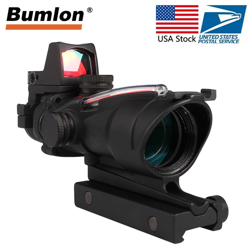 Tactical Hunting Rifle Scope Optic Sight Airsoft Green Red Fiber ACOG 4X32 With RMR Red Dot With Markings For Shooting HT6-0006