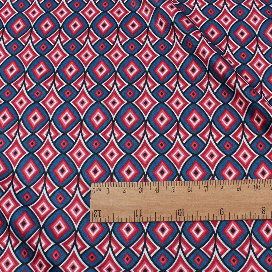 Knit Geometric Printed Spandex Fabric High Elastic Making Fabric By Yard