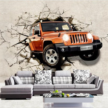Car broken wall 3D personality TV background professional production wallpaper mural custom poster photo