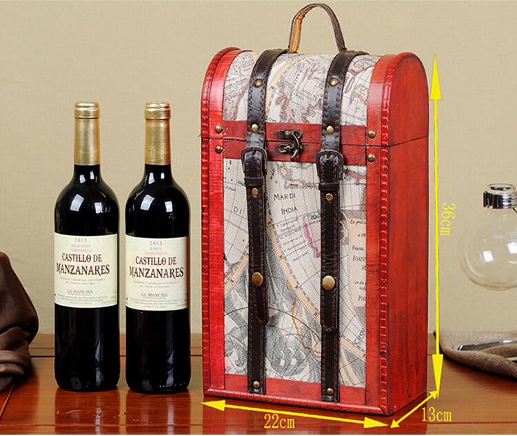 madera caja de de doble botella de vino con la manija portable de la vendimia