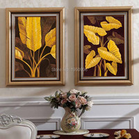 Hand Painted Modern Banana leaves Pictures On Canvas Flower Oil Painting For Room Decor Wall Painting Craft Canvas Paintings