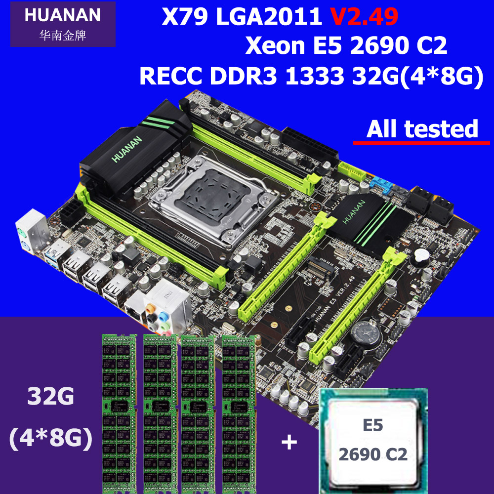 New arrival HUANAN V2.49 X79 motherboard CPU RAM set processor Xeon E5 2690 C2 memory 32G DDR3 REG ECC test before shipping deluxe edition huanan x79 lga2011 motherboard cpu ram combos xeon e5 1650 c2 ram 16g 4 4g ddr3 1333mhz recc gift cooler