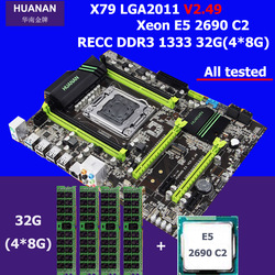 New arrival HUANAN V2.49 X79 motherboard CPU RAM set processor Xeon E5 2690 C2 memory 32G DDR3 REG ECC test before shipping