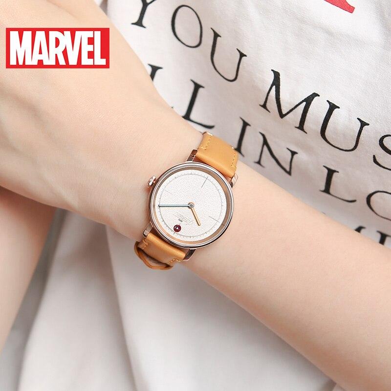 Marvel Avengers femmes bracelet en cuir étanche montres à Quartz dames Captain America Hero montre à la mode Top Femme Disney horloge nouveau - 2