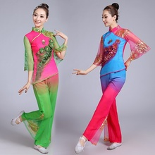 New female spring and summer middle old aged Yangge clothing fan dance costumes modern national classical costume