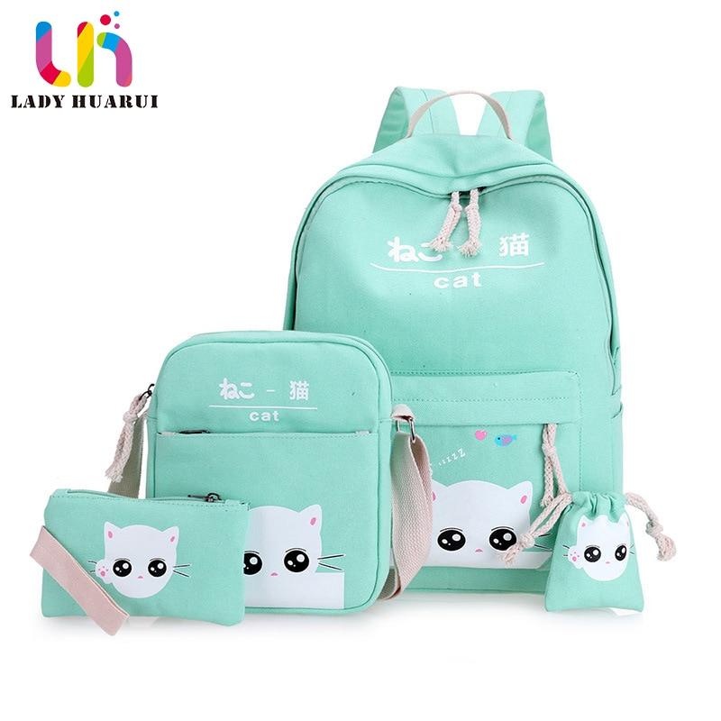 High Capacity Backpack With Cat School Bags For Teenagers Girls Backpacks Printing Cute School Bag mochila infantil Q2