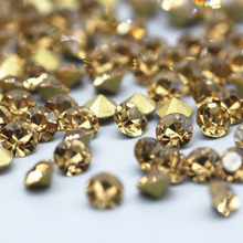 Glitter Point Back Rhinestone Crystal Yellow Pointed Bottom High Quality Shoes Clothing Decoration Crafts Decorations