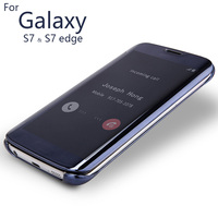 And GlassLuxury Clear View Cover For Samsung GALAXY S7 S7 Edge Case Mirror Screen Flip