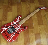 free shipping wholesale and retail new Big John electric guitar in red with print stripe +foam box F-1174