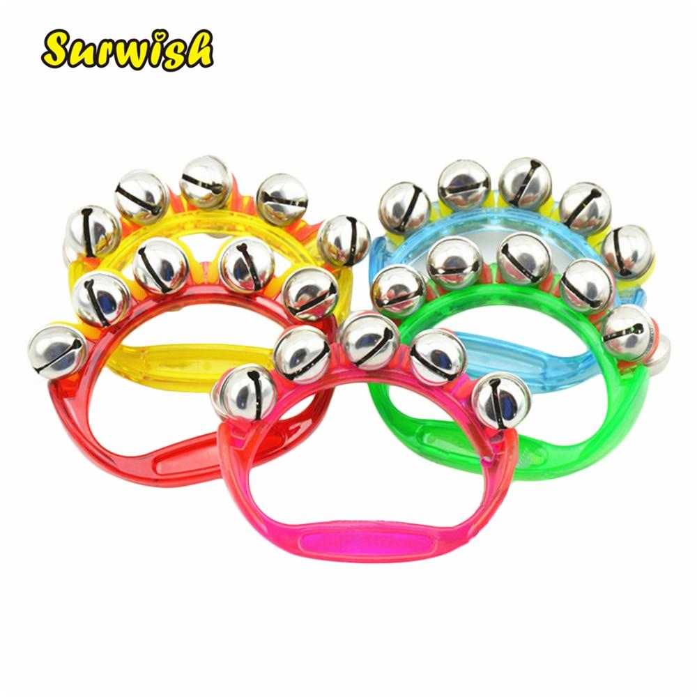 Surwish 1pcs Plastic Rhythm Band Wrist Bells Baby Kids Musical Instrument Toy – Random Color