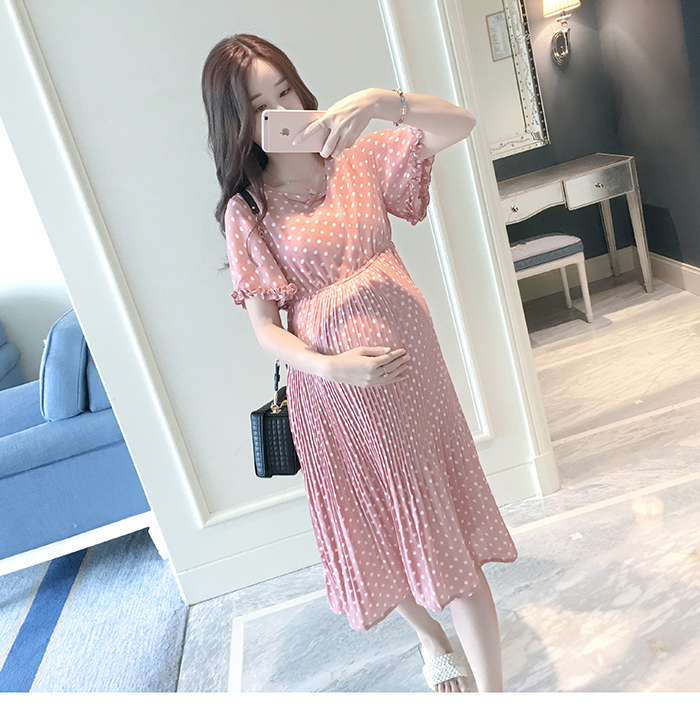 Casual Long Pregnancy Dresses For Women Short Sleeve Loose Maternity Dresses Summer New Chiffon Pregnant Dress Maternity Clothes (2)