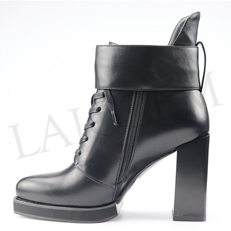 LAIGZEM NICE Women Ankle Boots Faux Leather Suede Chunky Heels Boots Zip Shoes Women Botines Mujer Ladies Sandals Size 5-41 (3)