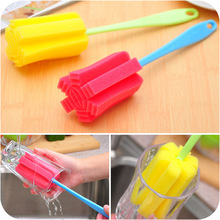 Top Quality Cheap Uesful Sponge Brush Bottle Cup Glass Washing Cleaning, Kitchen Item Cleaner Tools for Dish free shipping