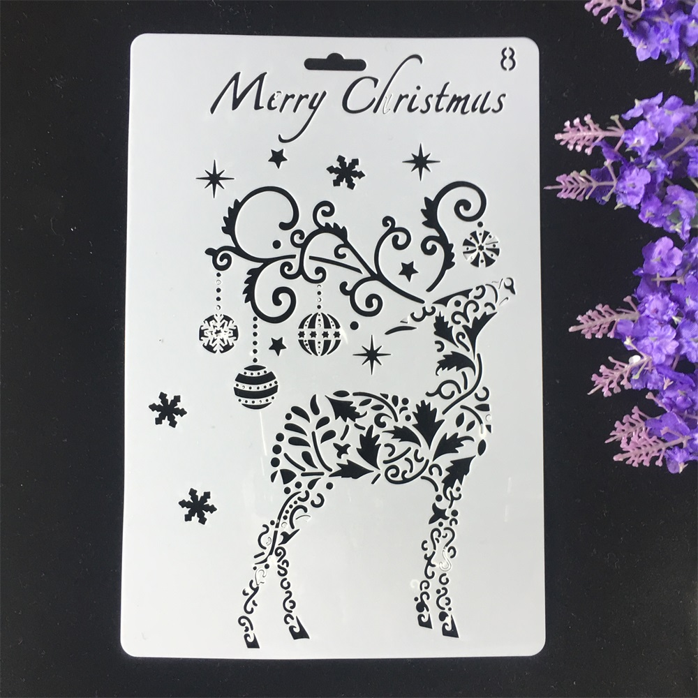 1Pcs 26cm Christmas Deer Bell DIY Craft Layering Stencils Wall Painting Scrapbooking Stamping Embossing Album Card Template