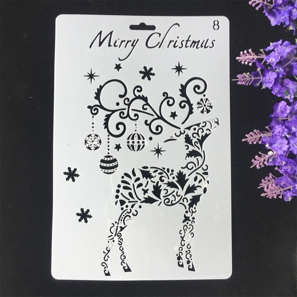1Pcs 26cm Christmas Deer Bell DIY Craft Layering Stencils Wall Painting Scrapbooking Stamping Embossing Album Card Template