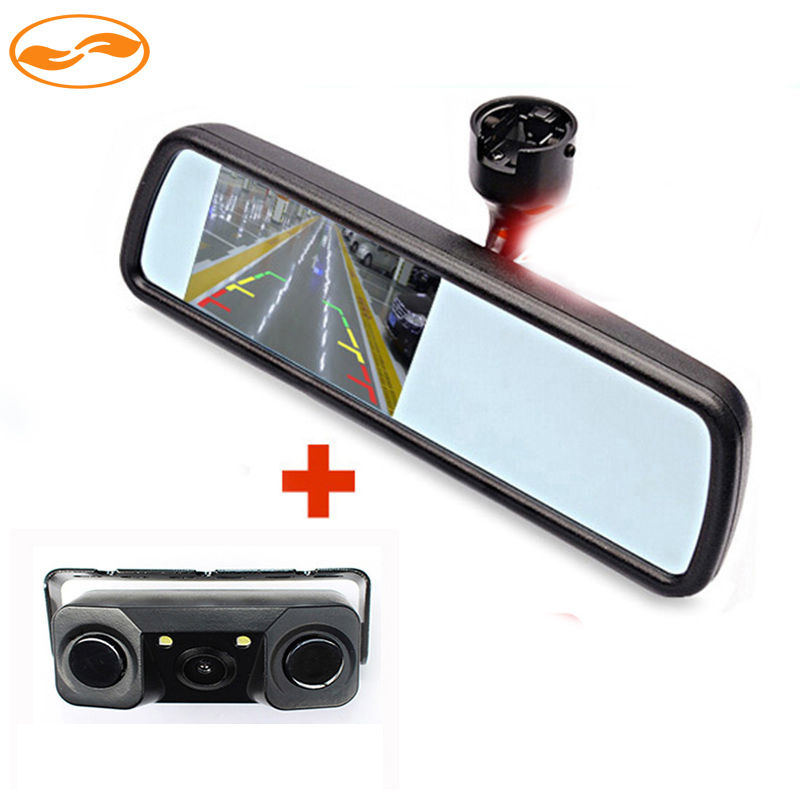 цена на TFT Color Car Rearview Mirror Monitor with Special Bracket + Rear Reversing Backup Parking Camera with Sensor and LEDs