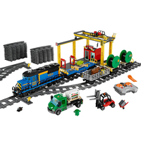 DHL 02008 City Motorized Remote Control Cargo Train Model Building Blocks Brick Compatible legoinglys Train 60052 Kids Toys Gift