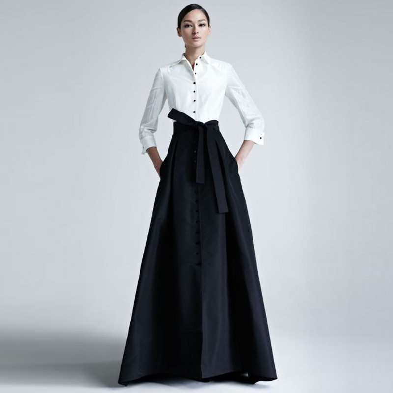 2018 Autumn Winter Women Skirts Custom Made Empire Waistline A Line Floor Length Maxi Skirt Black