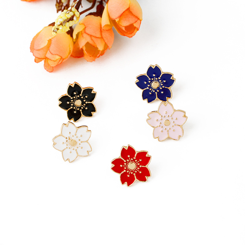 6pcs/lot Cherry blossom badge female Lapels Pin bodice Brooch for craft brooches Clothing collar decoration dripping Brooch