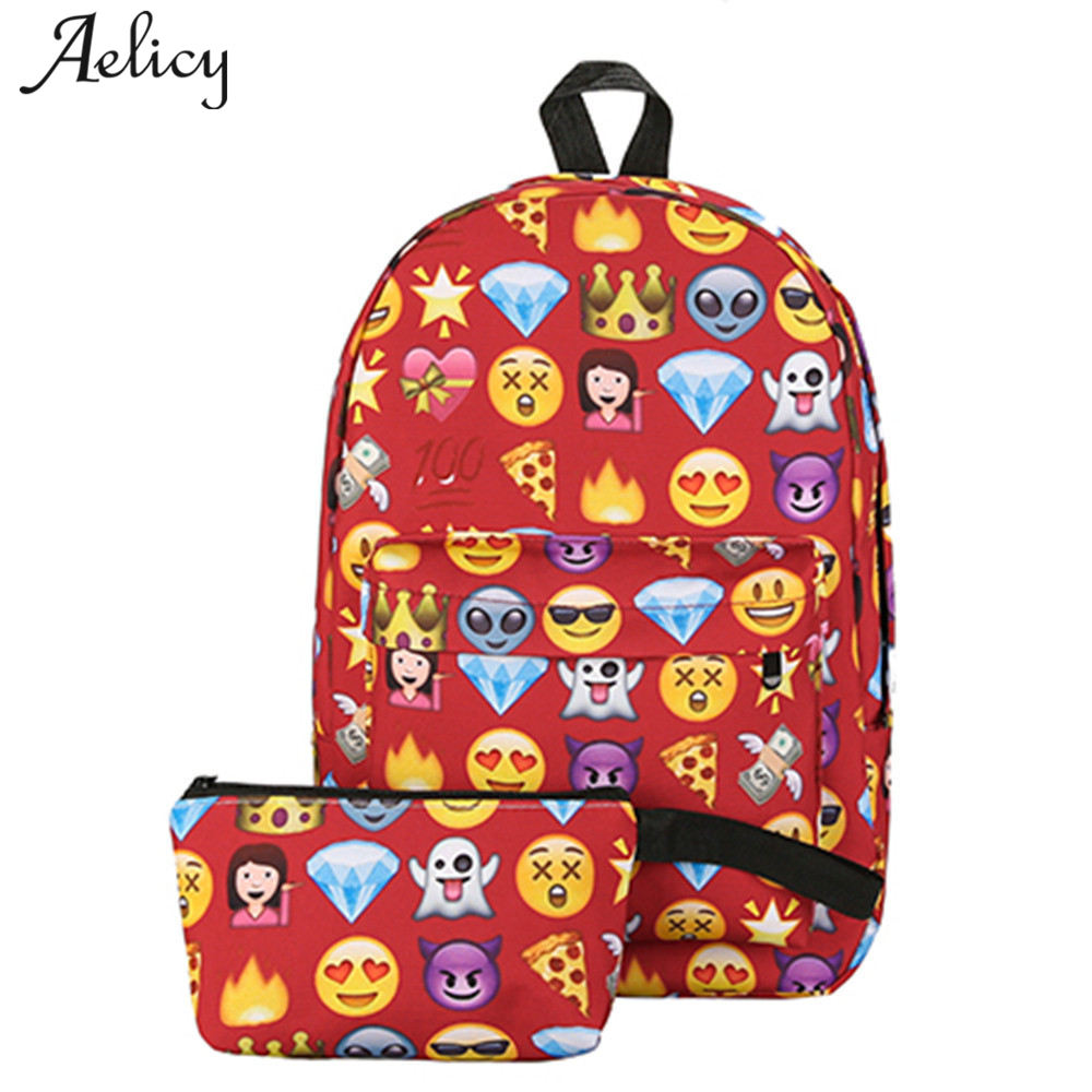 Aelicy Luxury Print Emoticon Backpack Set Unisex 2 pcs School Bags Two Piece Set Shoulder for Teenage Girls School BackpackAelicy Luxury Print Emoticon Backpack Set Unisex 2 pcs School Bags Two Piece Set Shoulder for Teenage Girls School Backpack