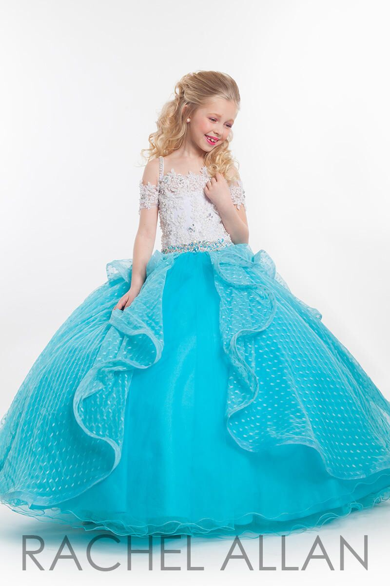 4697ca678b1 Sweet Turquoise White Straps Flower Girl Dresses Princess Dresses Girls   Pageant Dresses Birthday Custom Made Size 2-14 F18239