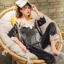 3 шт./компл. средства ухода за кожей для будущих мам пижамы Беременность корсет для кормящих мам, одежда для сна, модные золотые бархатная Пижама для кормления Одежда для беременных