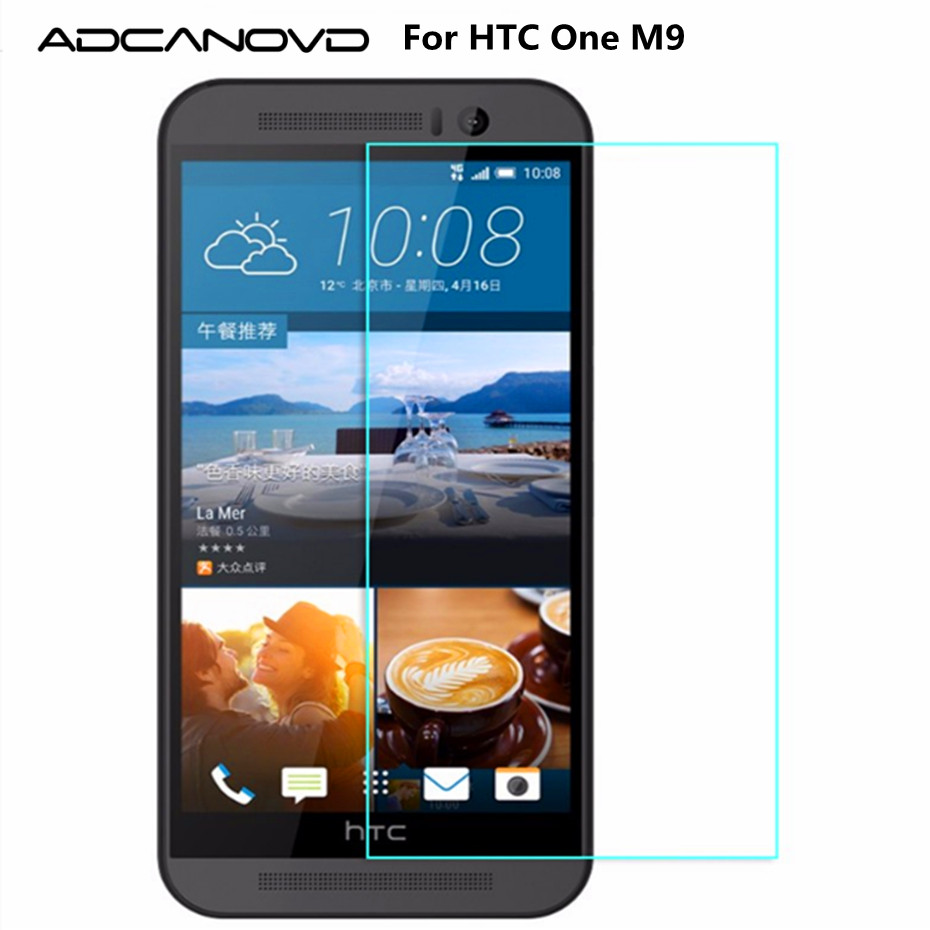 Adcanovd For HTC One M9 Tempered Glass Screen Protector 2.5D 9H Anti-Explosion Protective Film On M9S M9u M9w Hima Dual Sim