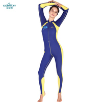 SABOLAY One Piece Wet suits women Swimwear Diving Suits Long Sleeves Surfing Anti UV Protection Rash Guards Snorkel Male