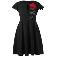 цена Summer Dress Rose Embroidered Vintage Flare Plus Size Dress Women Sexy Party Dress Big Size Beach Dress Vestidos
