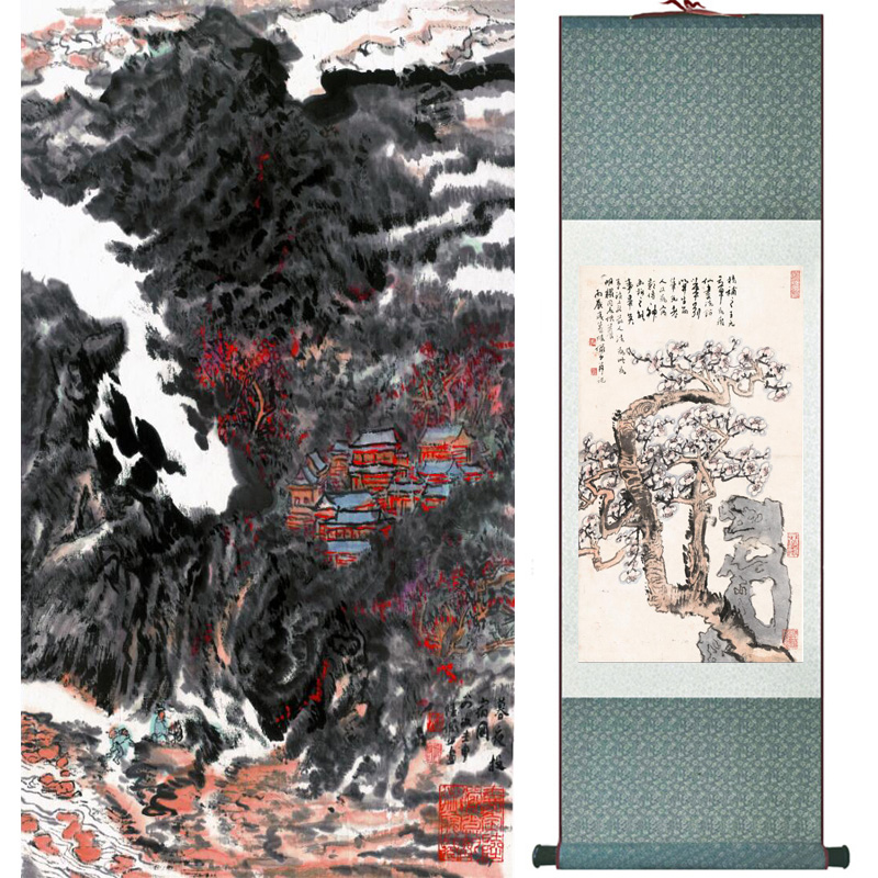landscape  painting  Home Office Decoration Chinese scroll painting mountain and River paintingPrinted painting060507