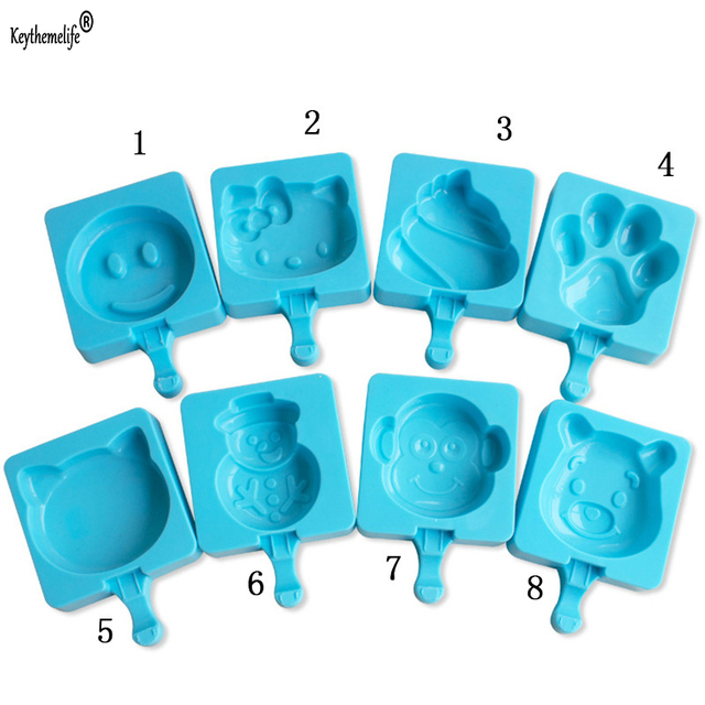 Keythemelife 1pc Ice Cream Popsicle Mold Blue Diy Mould Silicone Kitchen Gadgets 2d