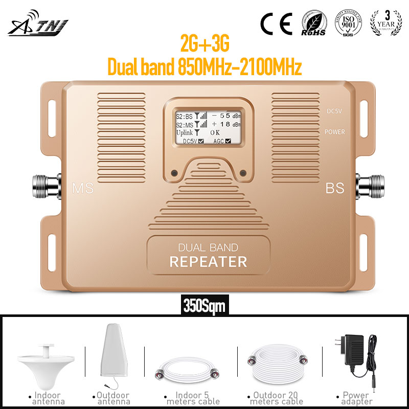 Dual Band 2G 3G Cell Phone Signal Booster 850/2100MHz 70dBi Gain Amplifier + Log-periodic +ceiling +adapter +cable