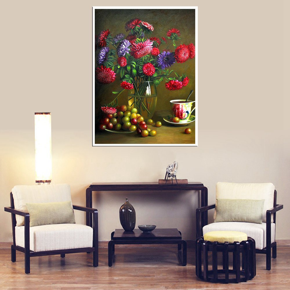Still Life Oil Painting for Living Room Wall Decorative Red Flowers Fruits Hand Painted Sofa Home Decor Printed Christmas Gift in Painting Calligraphy from Home Garden