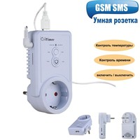 Russian English GSM Smart Power Plug Socket Wall Switch Outlet With Temperature Sensor SMS Control support USB Output SIM Card
