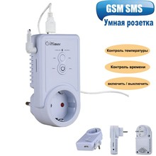 Russische Englisch GSM Smart Power Steckdose Wand Schalter Steckdose Mit Temperatur Sensor SMS Steuerung unterstützung USB Ausgang SIM Karte