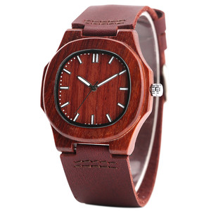 Image 3 - Men Women Wooden Watch Creative Round Shape Dial Light Wood Case Genuine Leather Band Bamboo Wood Clock Male Reloj de madera TOP