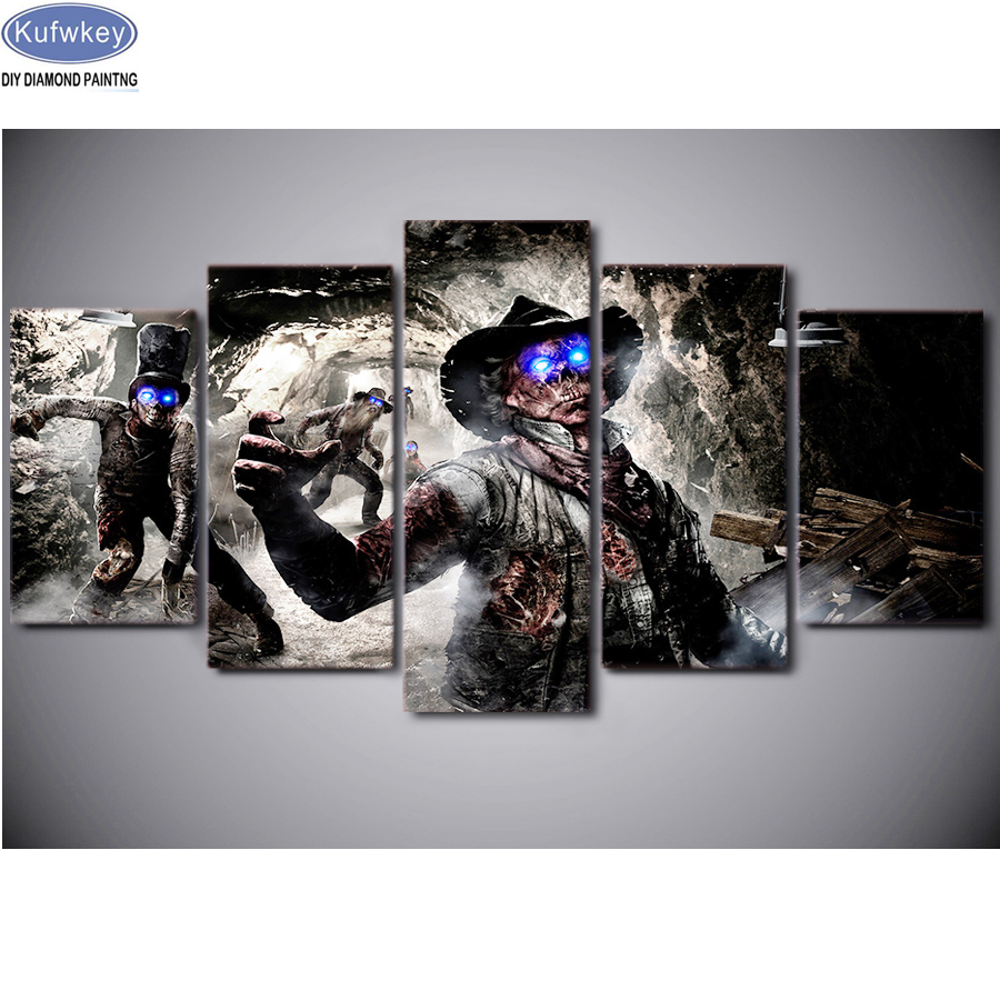 wall painting call of duty zombies death Full Diamond Embroidery Diamond Mosaic Diamond Painting 5 pcs set Cross Stitch Kits