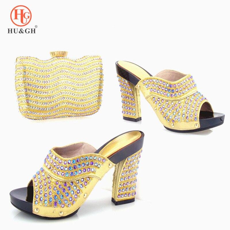 Новый золотой Цвет Итальянская обувь с подходящая Сумочка Обувь и сумка в комплекте в африканском стиле Наборы для ухода за кожей Для женщи...