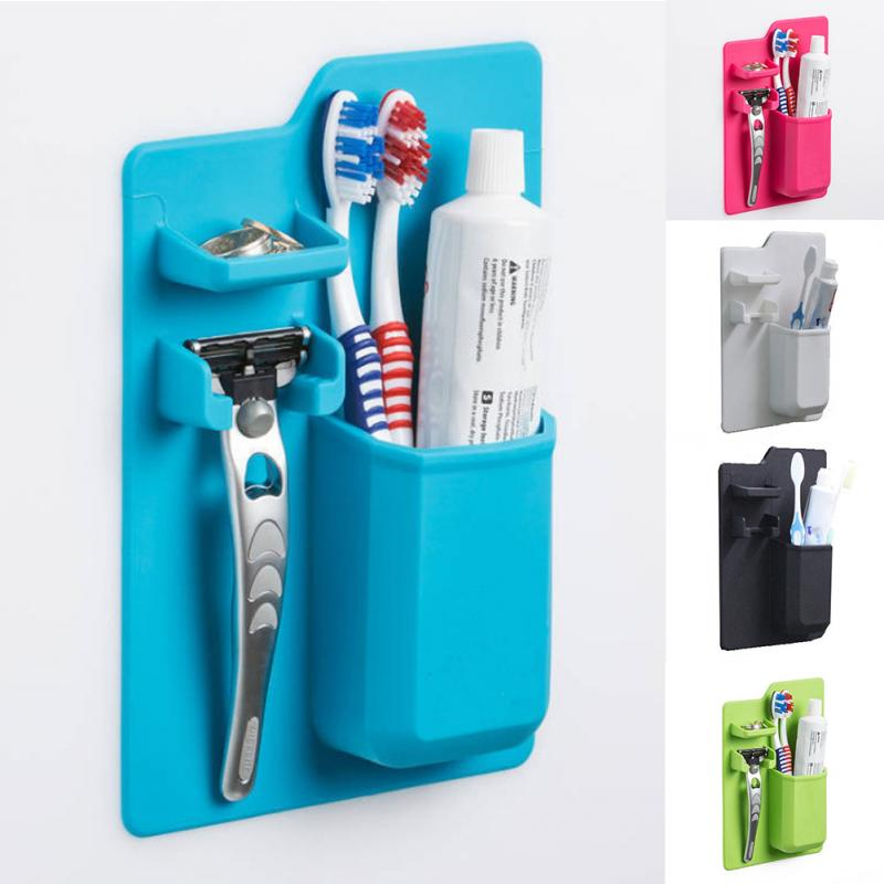 Multi Function Silicone Mighty Toothbrush Holder Baskets Bathroom Organizer Storage Space Rack Stands